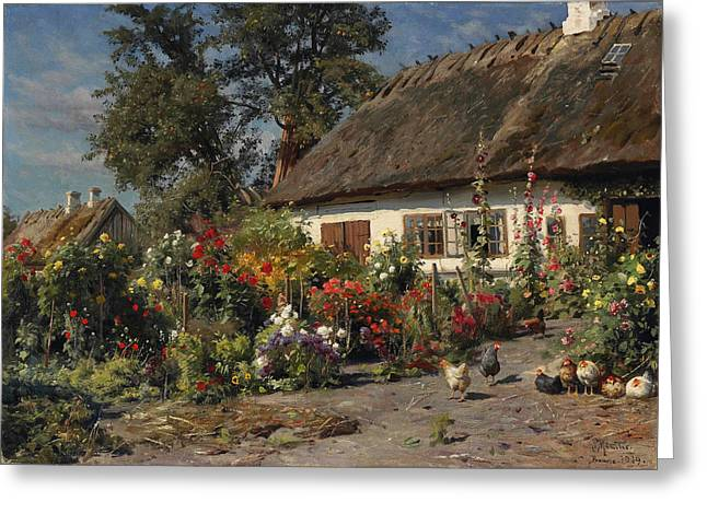 Monsted Greeting Cards - A Cottage Garden with Chickens Greeting Card by Peder Mork Monsted