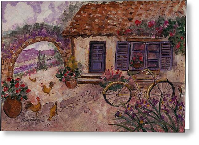 Vase Of Flowers Mixed Media Greeting Cards - A Cottage in Provence Greeting Card by Elaine Elliott