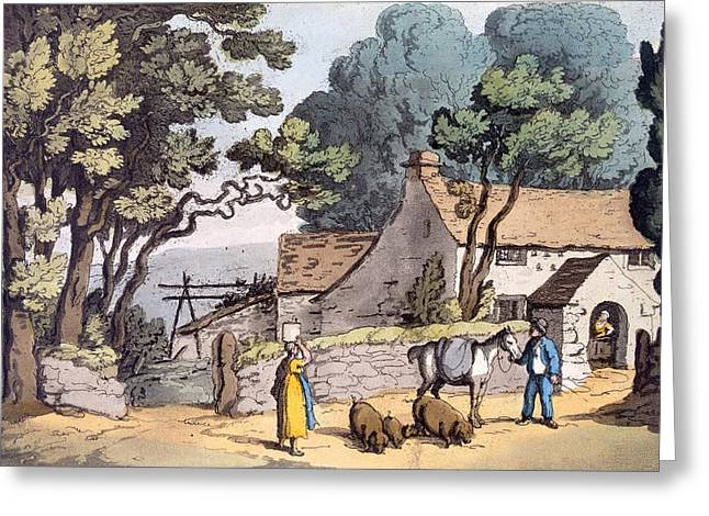 Country Cottage Greeting Cards - A Cottage In The Duchy Of Cornwall, 1822 Greeting Card by Thomas Rowlandson