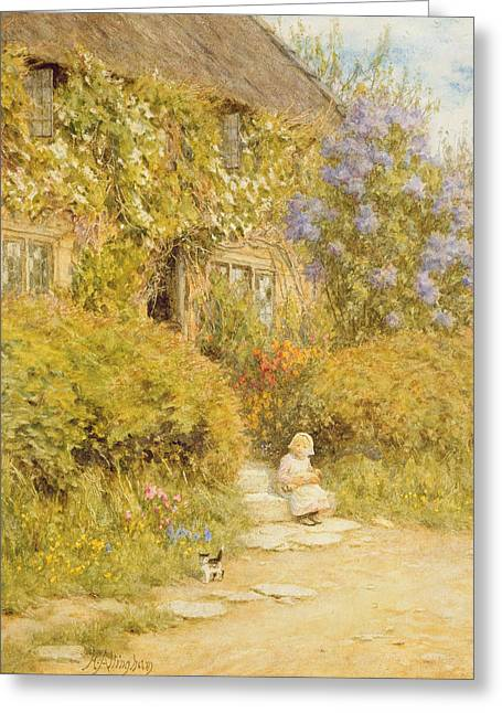 Country Cottage Greeting Cards - A Cottage Near Crewkerne Wc On Paper Greeting Card by Helen Allingham