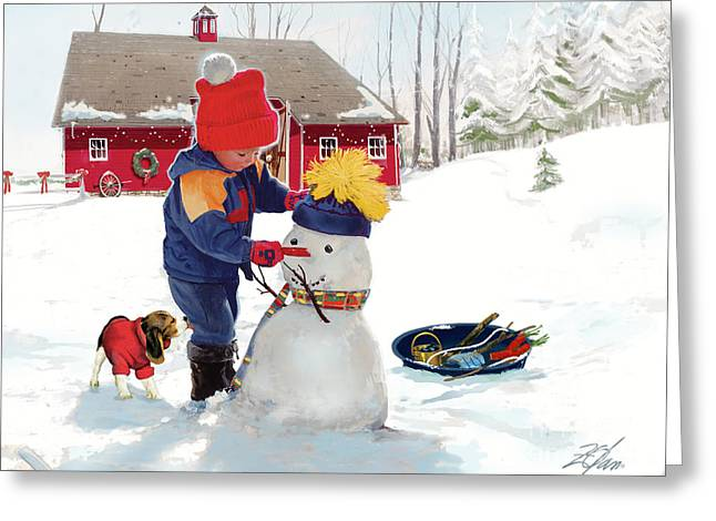Little Boy Greeting Cards - A Country Christmas Greeting Card by Donald Zolan