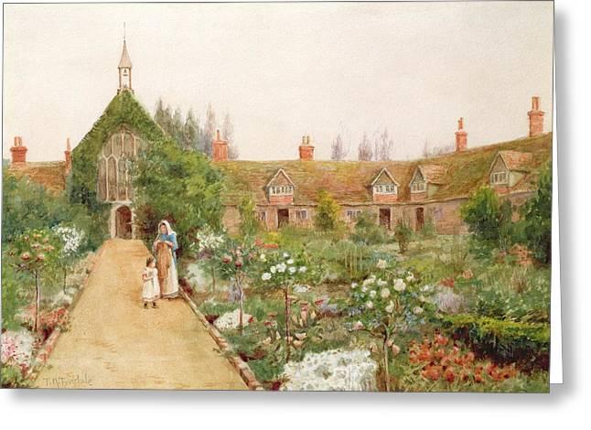 White Paintings Greeting Cards - A Country Garden At Bray, Berkshire Greeting Card by Thomas Nicholson Tyndale
