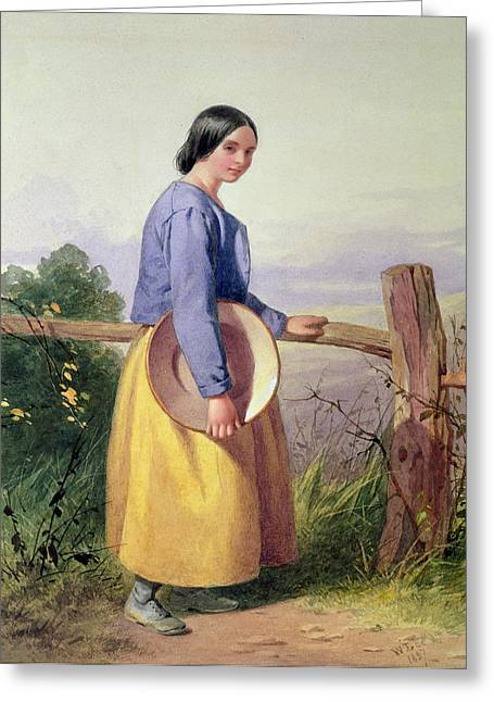 Victorian Photographs Greeting Cards - A Country Girl Standing By A Fence Greeting Card by William Lee