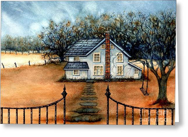 Autumn In The Country Greeting Cards - A country Home Greeting Card by Janine Riley