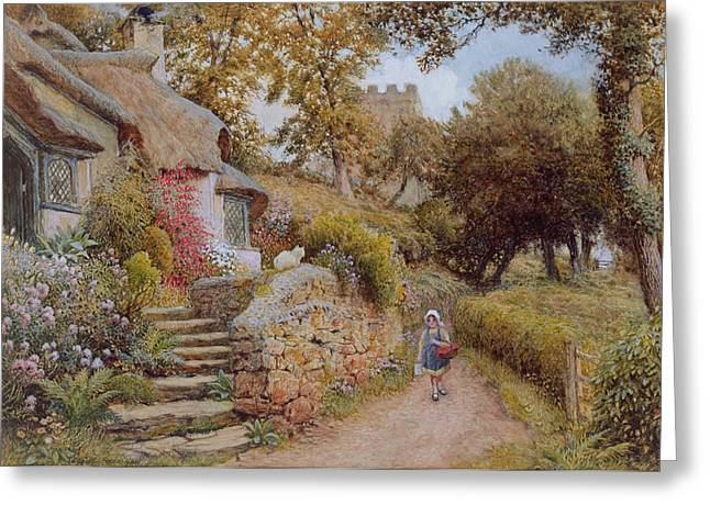 A Country Lane Greeting Card by Arthur Claude Strachan