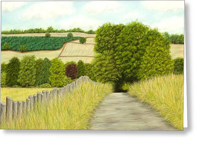 Farming Pastels Greeting Cards - A country lane in the Cotswolds Greeting Card by Rebecca Prough