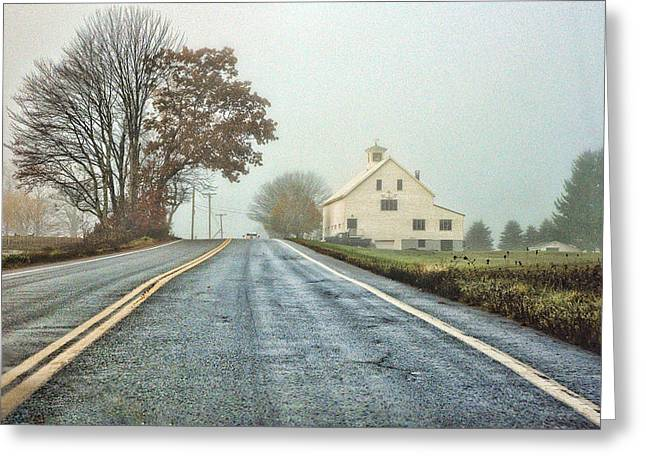 Rural Maine Roads Greeting Cards - A Country Road Greeting Card by David Whiteside