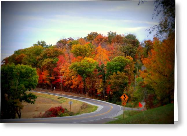 Kkphoto1 Greeting Cards - A Country Road In Autumn 1 Greeting Card by Kay Novy