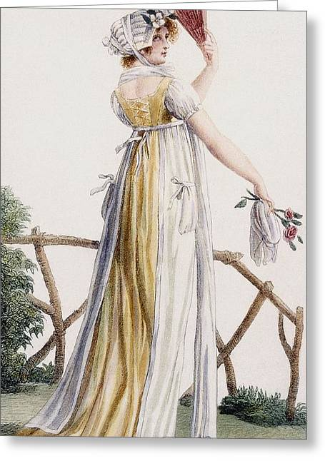 Fence Drawings Greeting Cards - A Country Style Ladies Dress Greeting Card by Pierre de La Mesangere
