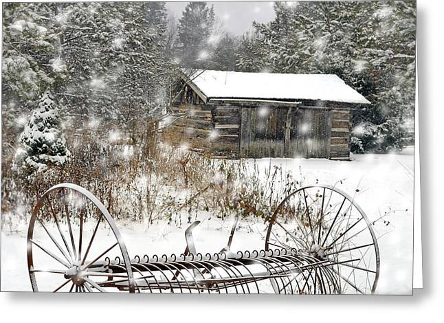 Vinter Greeting Cards - A Country WInter Greeting Card by Lj Lambert
