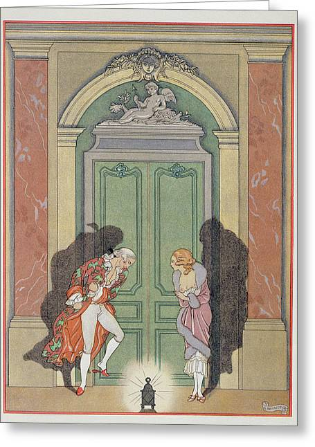 Pajamas Greeting Cards - A Couple in Candlelight Greeting Card by Georges Barbier