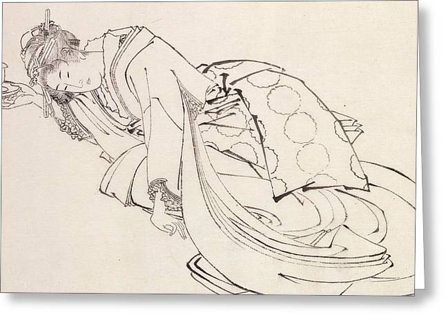 Geisha Greeting Cards - A Courtesan Offering a Cup Greeting Card by Japanese School