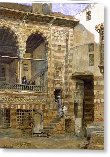 The Houses Greeting Cards - A Courtyard in Cairo Greeting Card by Frank Dillon