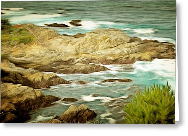 Central Coast Of California Greeting Cards - A Cove At Big Sur Greeting Card by Barbara Snyder