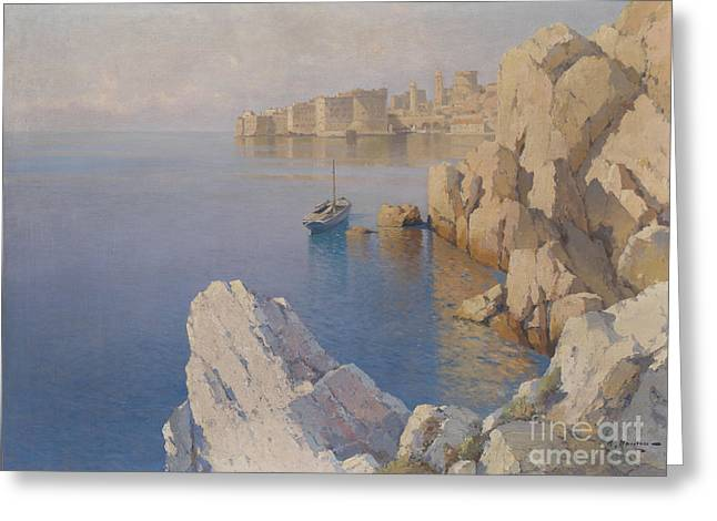 Bales Paintings Greeting Cards - A Cove in Dubrovnik Greeting Card by Celestial Images