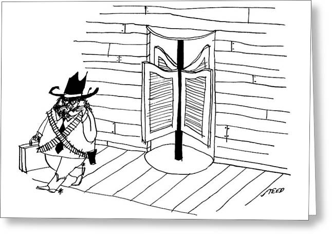 A Cowboy With A Briefcase Leaves An Office Greeting Card by Edward Steed
