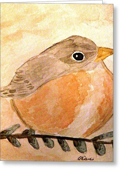 Pussy Willow Branches Greeting Cards - A Cozy Robin Greeting Card by Angela Davies