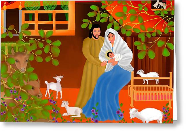 Shepherds Greeting Cards - A Cradle In Bethlehem Greeting Card by Latha Gokuldas Panicker
