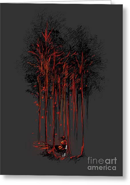Fire In The Wood Greeting Cards - A crimson retaliation Greeting Card by Budi Satria Kwan