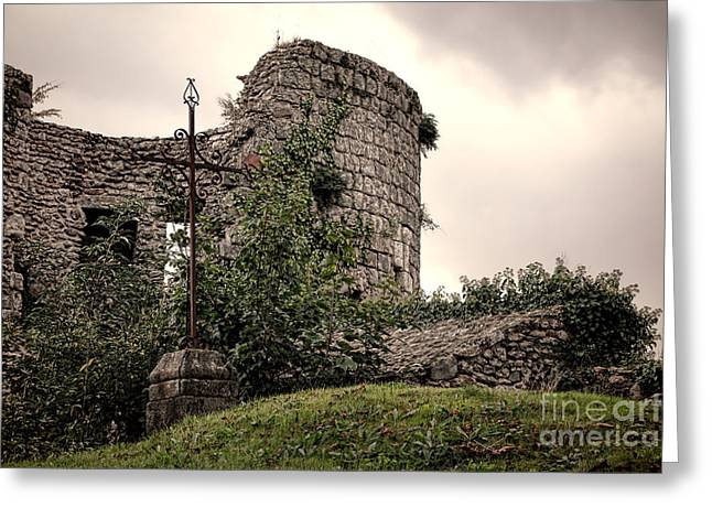 Middle Ages Greeting Cards - A Cross in the Ruins Greeting Card by Olivier Le Queinec