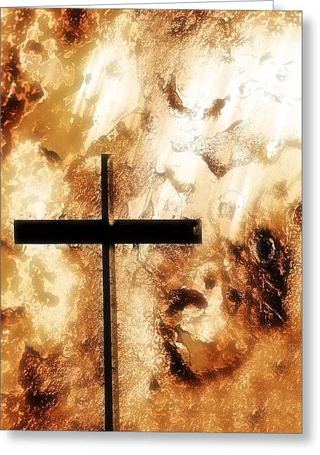 Belief Systems Greeting Cards - A Cross With An Orange Rough Background Greeting Card by Chris Knorr