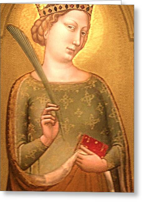 Li Van Saathoff Greeting Cards - A Crowned Virgin Martyr - Facsimile Greeting Card by Li   van Saathoff