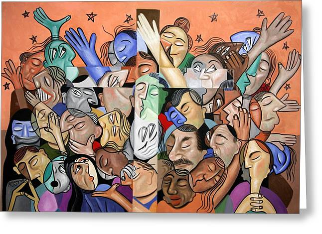 Cubist Digital Art Greeting Cards - A Cubist Prayer One World One God Greeting Card by Anthony Falbo