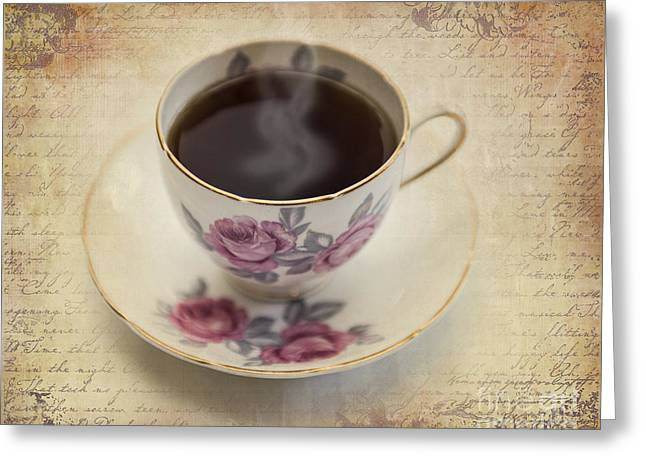 Cup And Saucer Greeting Cards - A Cup of Comfort Greeting Card by Betty LaRue