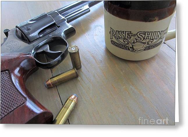 44 Magnum Greeting Cards - A Cup of Joe with Smith and Wesson Greeting Card by John Burch