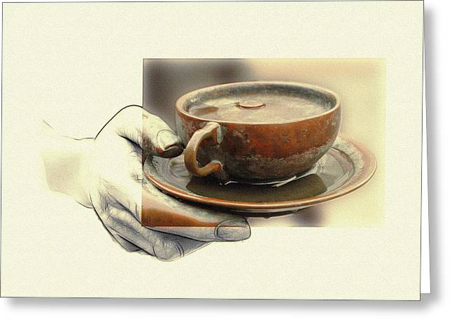 Bronze Mixed Media Greeting Cards - A Cup of Tea 2 Greeting Card by Stefan Kuhn