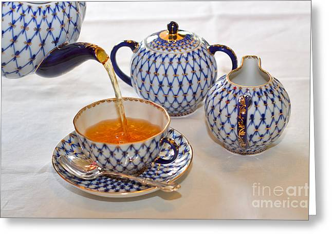 Tea Set Greeting Cards - A Cup of Tea Greeting Card by Louise Heusinkveld