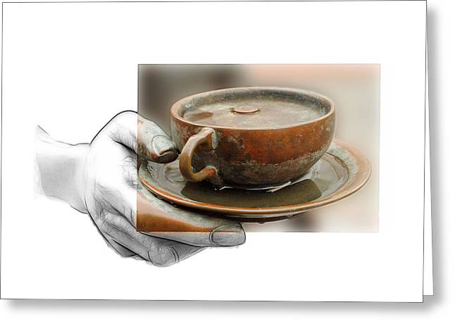 Bronze Mixed Media Greeting Cards - A Cup of Tea Greeting Card by Stefan Kuhn