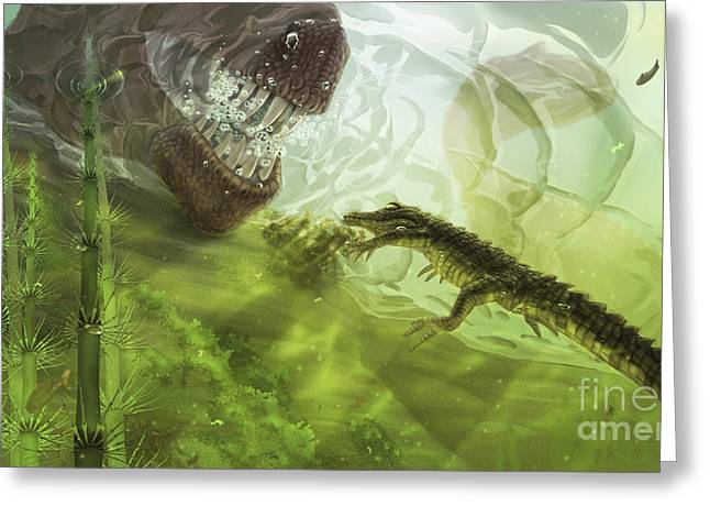 Paleontology Greeting Cards - A Curious Koumpiodontosuchus Eyes Greeting Card by Alice Turner