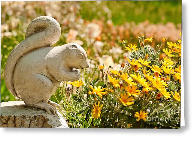 Garden Statuary Greeting Cards - A Cute Stone Chipmunk Statue  Greeting Card by Leyla Ismet
