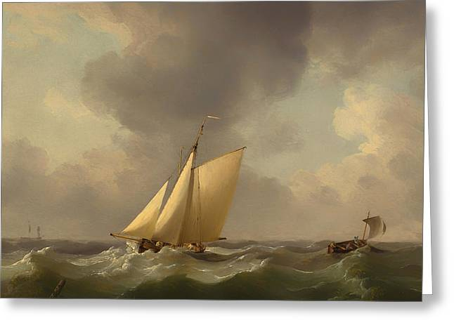 Breezy Greeting Cards - A Cutter in a Strong Breeze Greeting Card by Charles Brooking