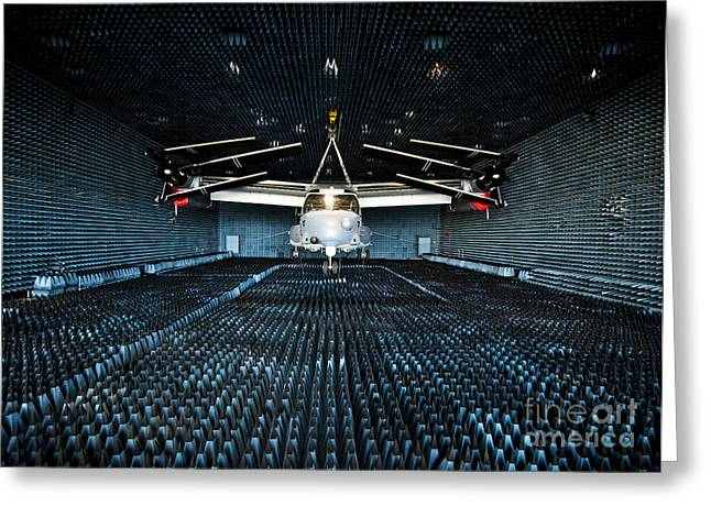 Experiment Greeting Cards - A Cv-22 Osprey Hangs In The Anechoic Greeting Card by Stocktrek Images