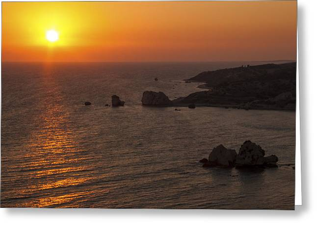 Petra Tou Romiou Greeting Cards - A Cypriot Sunset Greeting Card by Paul Davies