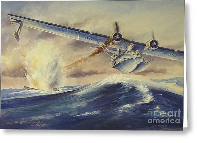 Pby Catalina Greeting Cards - A Damaged Pby Catalina Aircraft Greeting Card by TriFocal Communications