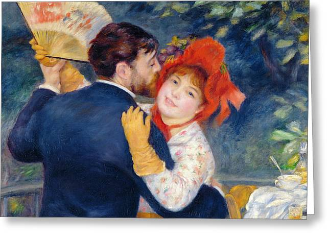 Folk Dancing Greeting Cards - A Dance In The Country, 1883 Oil On Canvas Detail Of 37338 Greeting Card by Pierre Auguste Renoir