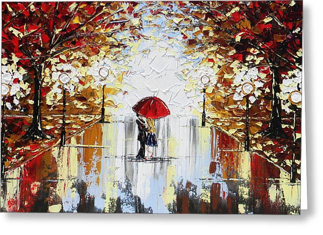 Artist Christine Krainock Greeting Cards - A Dance in the Rain Greeting Card by Christine Krainock