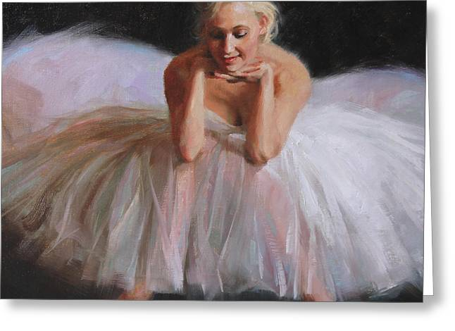 White Dress Paintings Greeting Cards - A Dancers Ode to Marilyn Greeting Card by Anna Bain