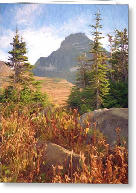 National Park Mixed Media Greeting Cards - A Day At Glacier Greeting Card by Richard Rizzo