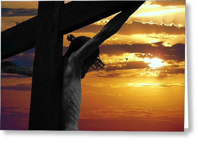 Calvary Mixed Media Greeting Cards - A DAY at GOLGOTHA Greeting Card by Daniel Hagerman