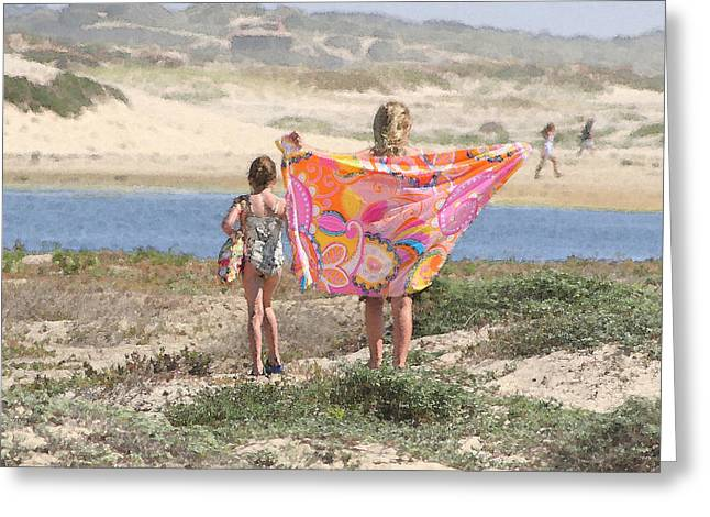 Beach Towel Photographs Greeting Cards - A Day at the Beach Greeting Card by Art Block Collections