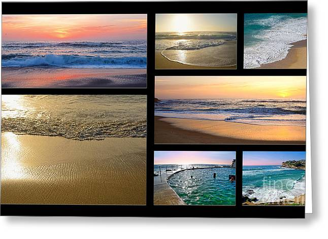 A Day At The Beach - Collage By Kaye Menner Greeting Card by Kaye Menner