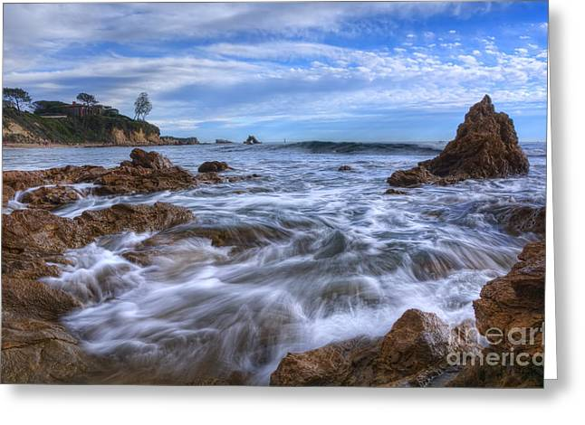 Day At The Beach Greeting Cards - Low Tide in Corona Del Mar Greeting Card by Eddie Yerkish