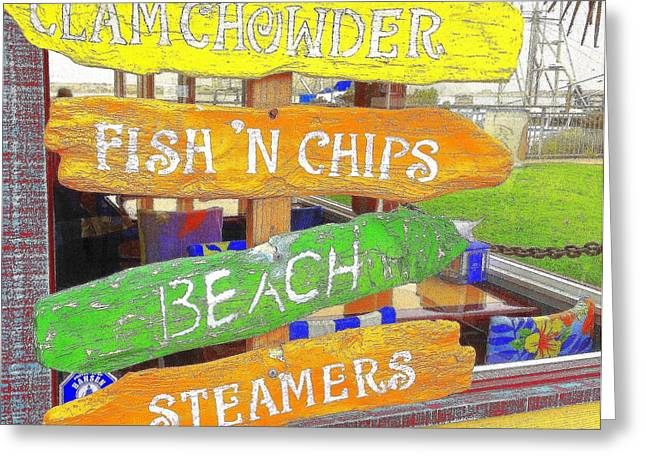 Clam Chowder Greeting Cards - A Day at the Beach Greeting Card by Kris Hiemstra