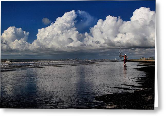 Galveston Digital Greeting Cards - A Day at the Beach Greeting Card by Linda Unger