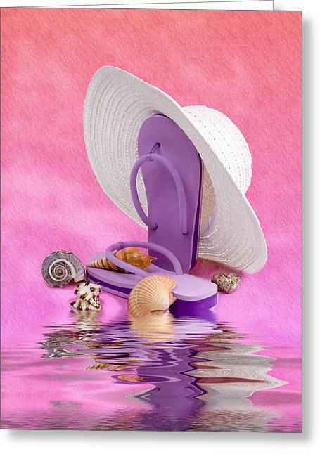 Sea Shore Greeting Cards - A Day at the Beach Still Life Greeting Card by Tom Mc Nemar