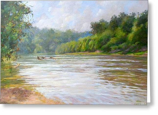 White River Scene Drawings Greeting Cards - A Day At The River  Greeting Card by Nancy Stutes